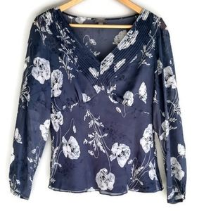 Ann Taylor Sheer Floral Long Sleeve Top Size 8